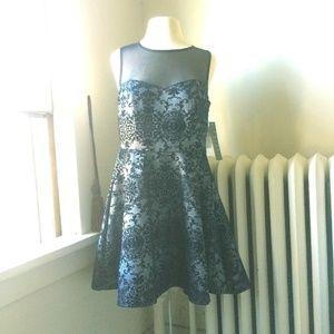 Trixxi Navy/Silver Jacquard Sleeveless Party Dress